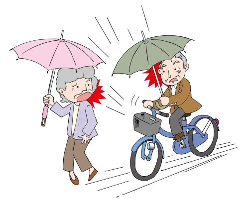 傘さし運転自転車